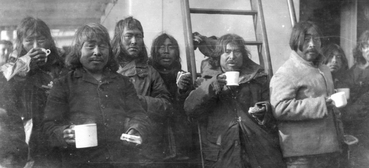 Inuit group aboard the S. S. Baychimo at anchor, Albert Harbour, Pond Inlet, NU, 1921